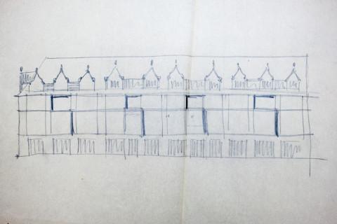 Entwurfsskizze des Vier-Giebel-Hauses, von Paul Werschy (Nachlass Paul Werschy, Stadtarchiv Weimar)