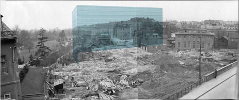 Position des geplanten neuen Bauhaus-Museums im Baustellenbild von 1937 (Stadtarchiv Weimar, 62 0-4)